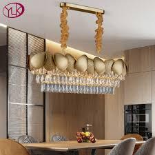 großes angebot 15 luxus moderne kristall kronleuchter für esszimmer design küche insel kette leuchte gold hause dekoration cristal le