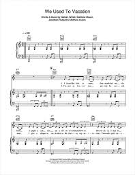 we used to vacation sheet music cold war kids piano vocal cold war