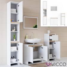 vicco badmöbel set weiß sonoma eiche spiegel unterschrank hochschrank midi