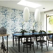 Dining Room With Pendant Lights Black Table And Patterned Feature Wallpaper