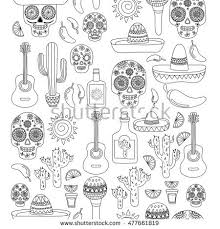 Vector Doodle Icons Mexican Party For Adult Coloring Book Hello How Are You Food