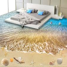 großhandel 3d strand tapete benutzerdefinierte boden tapete 3d stereoskopischen delphin ozean badezimmer boden wandbild pvc tapete selbstklebende