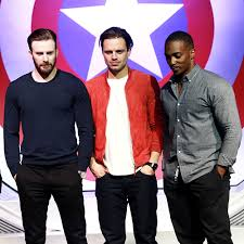 Chris Evans Sebastian Stan And Anthony Mackie Attend The Press Conference Of Captain America