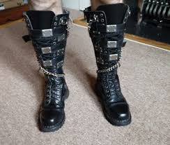 goth metal demonia riot 20 lace up and buckle strap leather knee