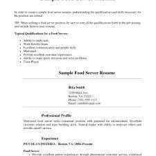 Server Resume New Restaurant Sample Free Ukranochi