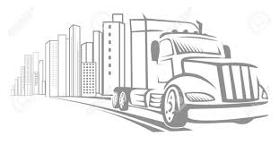 100 Semi Truck Tattoos Vector Big Doodle Driving Away From City