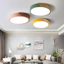 led deckenleuchte 24w 5cm led flurle runde deckenle wohnzimmer holz metall h x d 5 x 40 cm schwarz energieklasse a