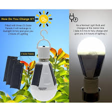 led solar light bulb flyhoom 7w 420lm rechargeable emergency