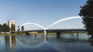 100 Water Bridge Germany Over River Rhine Connects With France