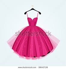 Pink party dress Prom dress Vector illustration