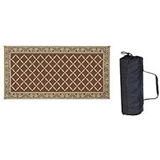 amazon com reversible mats 119187 brown beige 9 x18 rv patio mat