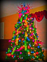 The Grinch Christmas Tree Ornaments by Christmas Tree With Bright Colors For The Home Pinterest