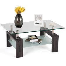 100 Living Room Table Modern Amazoncom Tangkula Glass Coffee Simple Style