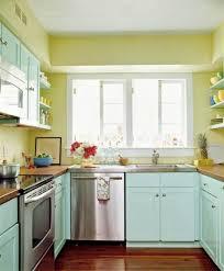 interior fancy u shape kitchen decoration with light green asian