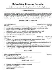 Babysitting Sample Resume Babysitter Download Job