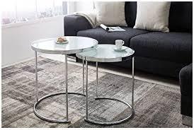 lnxp designer couchtisch 2er set chrom weiß tisch