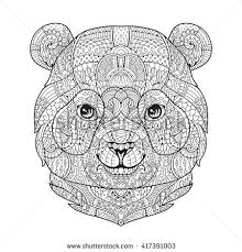 Zen Art Panda Bear Head In Zentangle Style For The Adult Antistress Coloring Book On