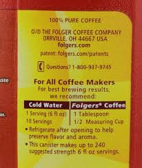 Folgers Classic Roast Ground Coffee Prev Next Description Nutrition Facts Ingredients
