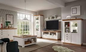 landhaus wohnwand 546cm pinie weiß wotan eiche vitrine wohnzimmer set