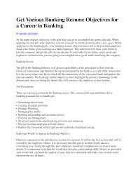 Resume Samples For Banking Sector Charming Objectives Your