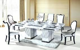 Marble Top Dining Table With 8 Chairs Luxurious White Set Singapore
