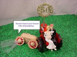 Tractor Farm County Outdoor Rustic Couple On Groom 50TH Wedding Anniversary Cake Topper
