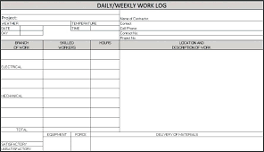 Work Log Template Excel Daily Weekly A Spreadsheet