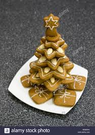 Homemade Gingerbread Christmas Tree Decorated Cookies Stacked To Resemble A With Presents Beneath