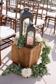 Rustic Lantern And Pink Flowers Wedding Aisle Decor