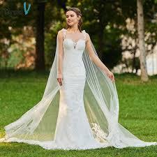Dressv ivory elegant straps wedding dress mermaid floor length
