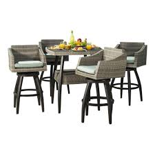 wicker bar height patio set rst brands cannes 5 all weather wicker patio bar height