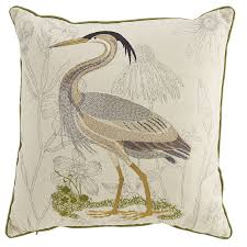 Embellished Coastal Heron Pillow