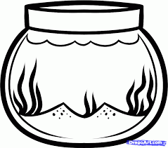 Fish Bowl Coloring Page Clipart