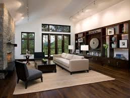 Living Room Decor Dark Wood Floor Mountain Home Contemporary San
