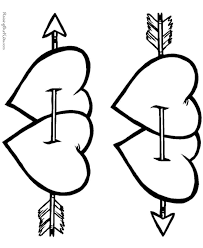 Arrow Hearts Coloring Pages For Love