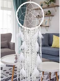 dremisland große traumfänger wandbehang dekoration handgemachte weiße feder boho traumfänger mit glocken hochzeit traumfänger schlafzimmer