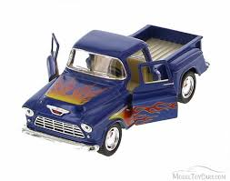100 Stepside Trucks 1955 Chevy Pickup With Flames Blue With Flames Kinsmart