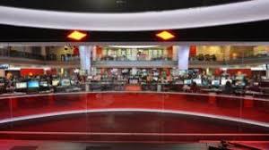 Wide Angle Shot Of BBC Newsroom Backdrop