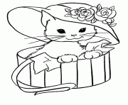 Printable Cat With Hat In A Box Animal Sb74e Coloring Pages