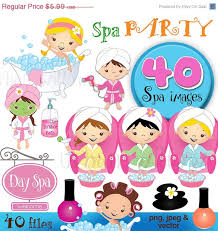 Spa Party Day 40 Piece Clip Art Set In Premium Quality