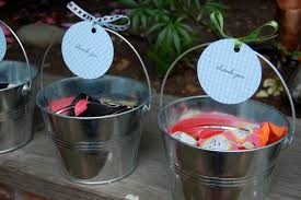 Each Favor Includes This Galvanized Bucket And 3 Bean Bags For A Bag Toss Game I Circle Punched Blue Gingham Paper Stamped Thank You Secured