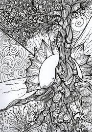 Girls Coloring Pages Online Free Print Sun Symmetry Adult