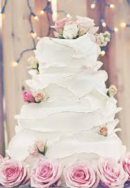 Rustic White Wedding Cake With Pink Roses
