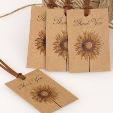 Rustic Sunflower Kraft Bridal Shower Favor Tag Country Thank You