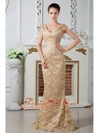 Champagne Column V Neck Lace And Embroidery Mother Of The Bride Dress Brush Train Satin