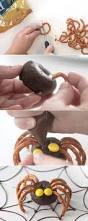 Halloween Decorated Pretzel Rods by Easy Mini Donut Spiders Easy Halloween Treat Kids Can Make