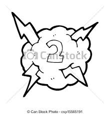 Cartoon Lightning Storm Cloud Symbol With Number Two
