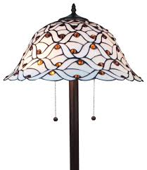 Tiffany Style Glass Torchiere Floor Lamp by Amora Lighting Tiffany Style Jeweled Design Glass Pearl Floor Lamp