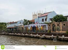 100 Houses In Malaysia River With Colonial Dutch Style Melaka Editorial