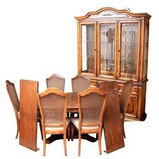 Dining Set With China Cabinet Furniture Complementary Table And Cane Back Chairs